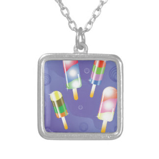 70Ice Cream _rasterized Silver Plated Necklace