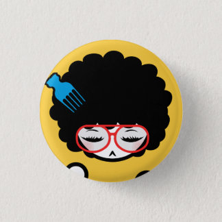 70's Afro Nina 1 Inch Round Button