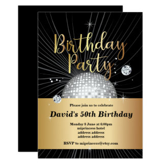 70's Birthday party, disco party Card