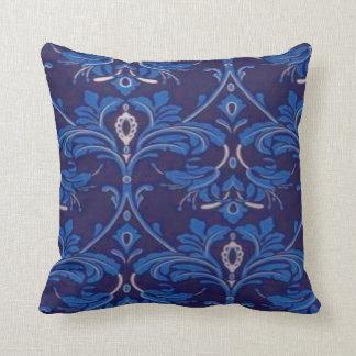 70's Blue Pattern Throw Pillow