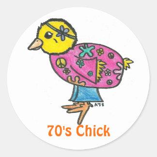 70's Chick Classic Round Sticker