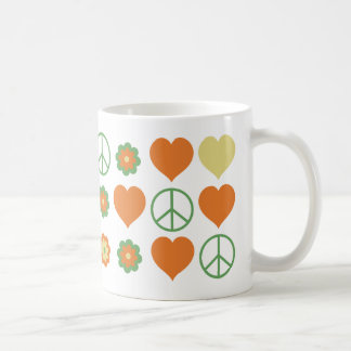 70's Color Theme Hearts Flowers Peace Symbols Coffee Mug