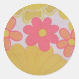 70's Flower's Retro Classic Round Sticker