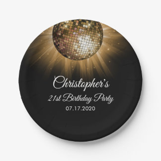 70's Gold Disco Themed Birthday Party Paper Plate