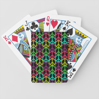 70's Hippie Peace Sign Pattern Bicycle Playing Cards