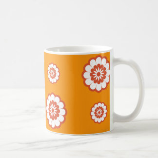 70's Mod Orange Flower Power Coffee Mug