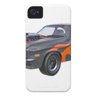 70's Muscle Car in Orange Flames and Black iPhone 4 Case-Mate Case