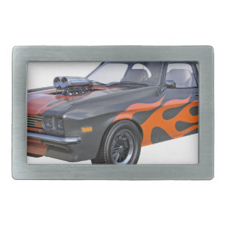70's Muscle Car in Orange Flames and Black Rectangular Belt Buckle
