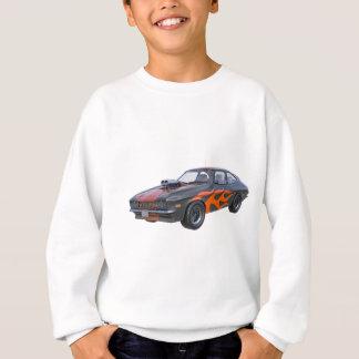 70's Muscle Car in Orange Flames and Black Sweatshirt