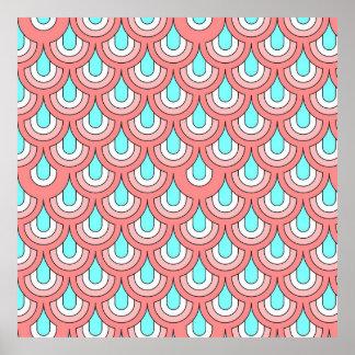 70s peach aqua pattern posters
