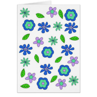 70's retro flowers blue greetings card