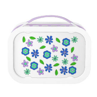 70's retro flowers blue lunchbox