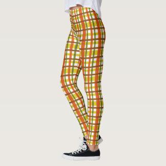 70s Retro Orange Yellow Plaid Groovy Leggings