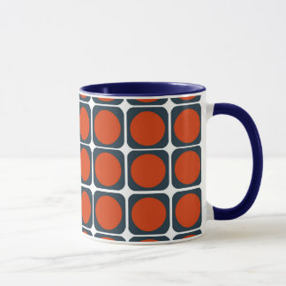 70s Retro Pattern in Orange & Blue Mug