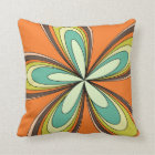 70's retro spring hippie flower power throw pillow