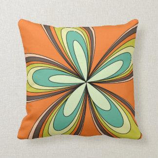 70's retro spring hippie flower power throw pillow
