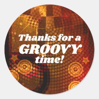 70's Seventies Orange Disco Dance Birthday Party Classic Round Sticker