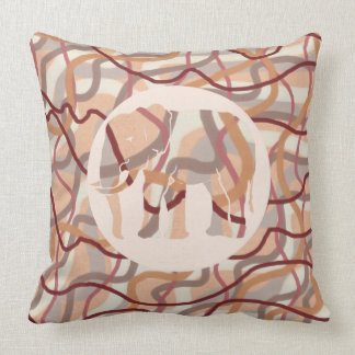 70s Square Retro Wavy Lines and Elephant Throw Pillow