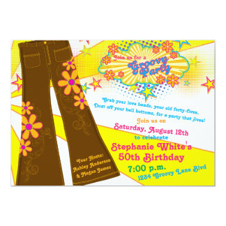 70s Theme Groovy Bell Bottoms 50th Birthday Party Card