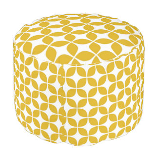 70s Yellow Cheveron Print Pouf