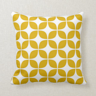 70s Yellow Cheveron Print Throw Pillow