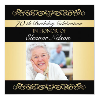70th-79th Birthday Party Invitations With Photo
