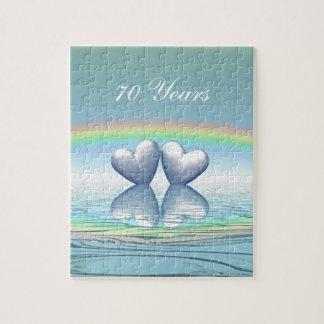 70th Anniversary Platinum Hearts Jigsaw Puzzle