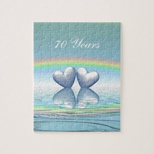 70th Anniversary Platinum Hearts Jigsaw Puzzle