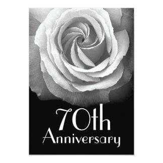 70th Anniversary Silver White Rose Card