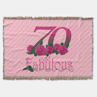 70th birthday 70 and fabulous pink flowers blanket throw