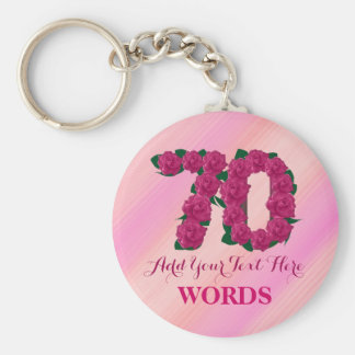 70th birthday 70 pink rose floral template keychain