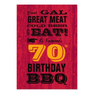 "70th Birthday BBQ Grill Out 5"" X 7"" Invitation Card"