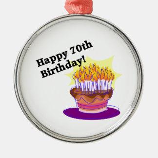 70th Birthday Cake Metal Ornament