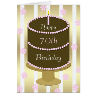 70th Birthday Card Cake in Pink