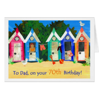 70th Birthday Card for Father - Beach Huts