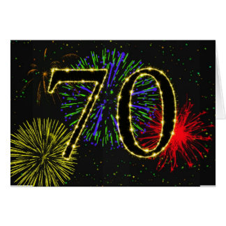 70th Birthday card with fireworks