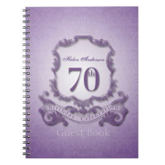 70th Birthday Celebration Custom Framed Guest Book Notebooks