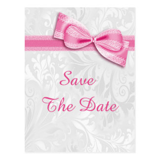 70th Birthday Damask and Faux Bow Save The Date Postcard