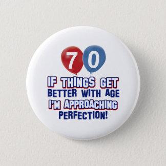 70th birthday designs 2 inch round button