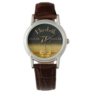 70th birthday elegant gold bow and ribbon black watch