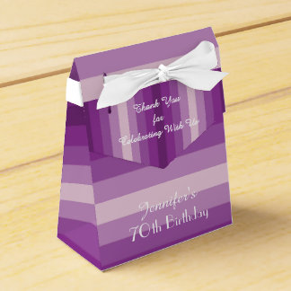 70th Birthday Favor Box, Purple Stripes Favor Box