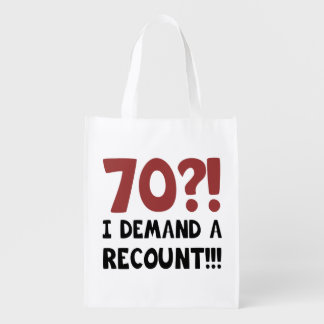 70th Birthday Gag Gift Reusable Grocery Bag