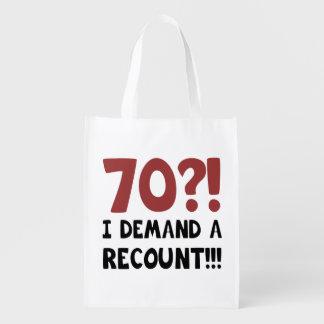 70th Birthday Gag Gift Reusable Grocery Bags