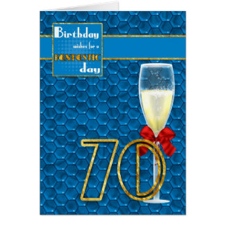 70th Birthday - Geometric Birthday Card Champagne