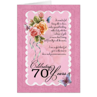 70th birthday greeting card - roses and butterflie