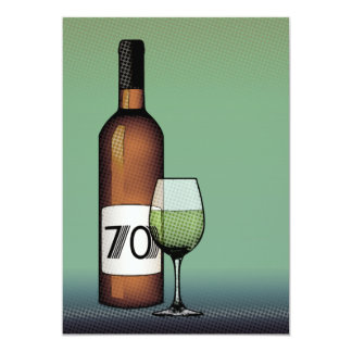 70th birthday : halftone wine bottle & glass card