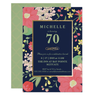 70th Birthday Invitation - Gold, Elegant Floral