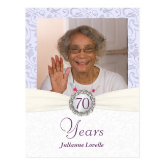 70th Birthday Invitation - Lavender Damask Sample Postcard