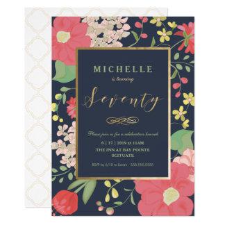 70th Birthday Invite -Elegant Floral - Custom