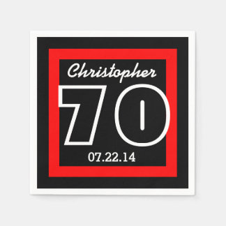 70th Birthday Modern Geometric Square Frame Paper Napkin